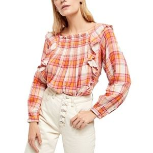 NWT Free People Sienna Plaid Smocked Pullover Top